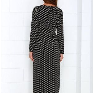 Lulu's Dresses - Black Long Sleeve Maxi Wrap Dress